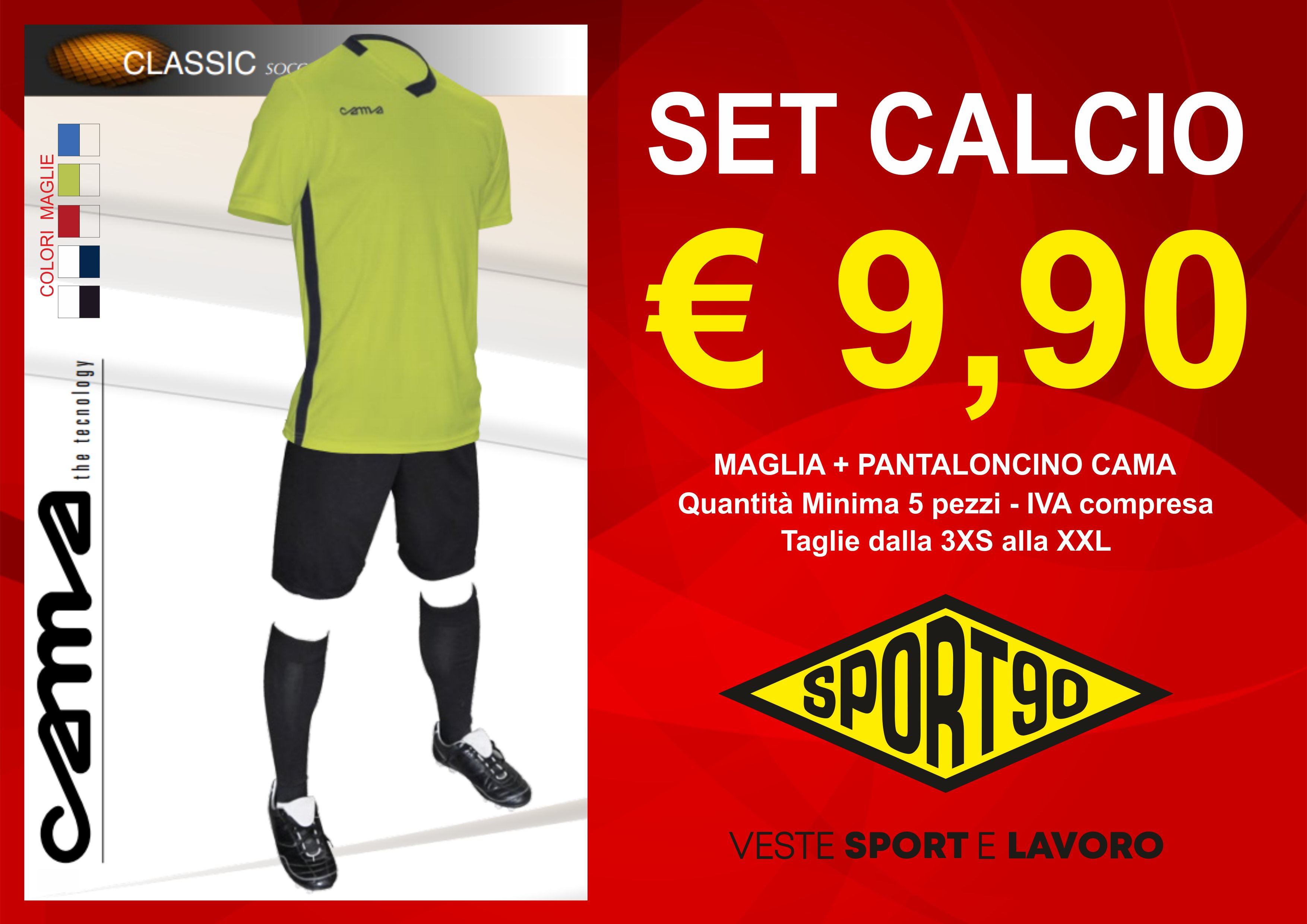 Set maglia e pantlaoncino calcio cama sport90 sport 90