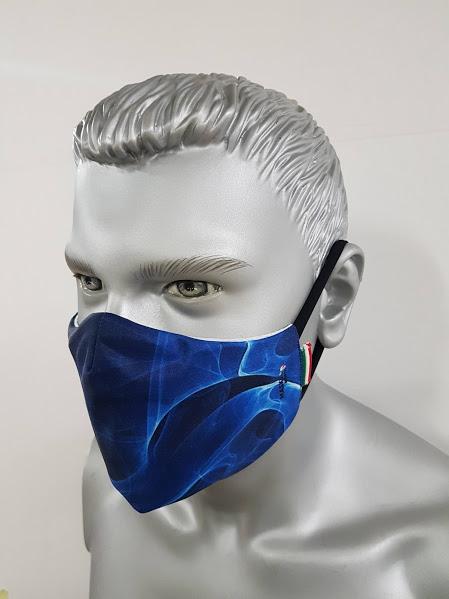 mascherina maskline fantasia astratto fluido blu-royal