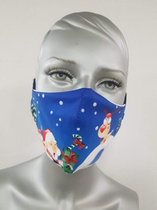 mascherina maskline by sport90 babbo natale igloo blue donna