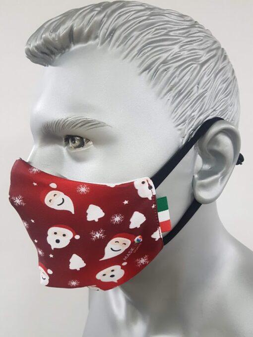 mascherina maskline by sport90 texture babbo natale red sx